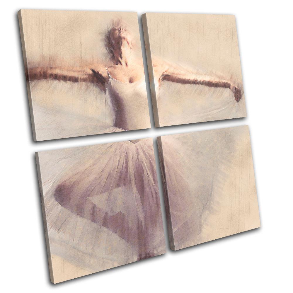 Ballerina Painted Look  Performing MULTI Leinwand Wand Kunst Bild drucken