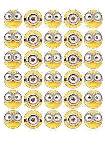 Image is loading 30-X-MINION-FACES-EDIBLE-WAFER-CUPCAKE-TOPPERS