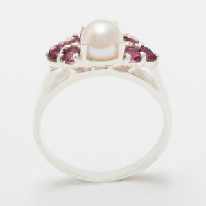 Solid-14ct-White-Gold-Full-Pearl-amp-Garnet-Womens-Cluster-Ring-Sizes-J-to-Z