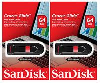 Sandisk 128gb (set Of 2x 64gb) Cruzer Glide Usb Flash Pen Drive Sealed Retail Pk