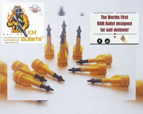 "less lethal paintball ammo 10 X KM /"" CROSSBOW ARROW VALVE BULLET /"" HDS 68"