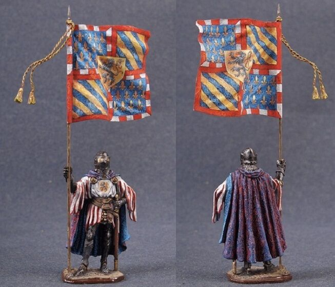 Tin toy soldiers ELITE painted 54 mm Teutonic knight with the banner of the Orde