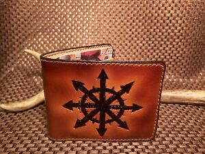 Chaos Ring handmade leather wallet from Warhammer 40k for geeks and gamers