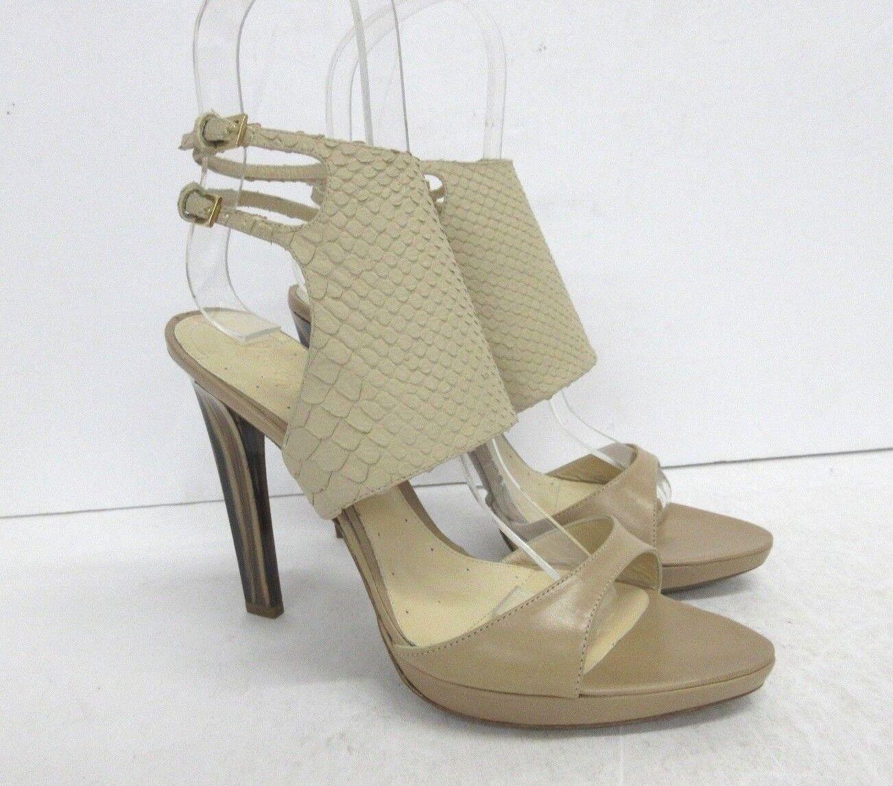 New MAX AZRIA Snake Embossed Marble Heel Sandals Beige Size: 39 EUR