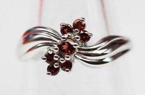 Edler-0-55-Carat-Granat-Ring-925-Silber-blutroter-Granat-Groesse-6-7-8-9