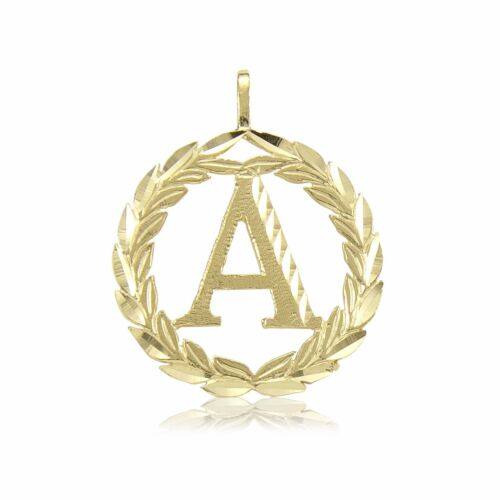14K Solid Yellow Gold Wreath Initial Letter Pendant A-Z Alphabet Necklace Charm