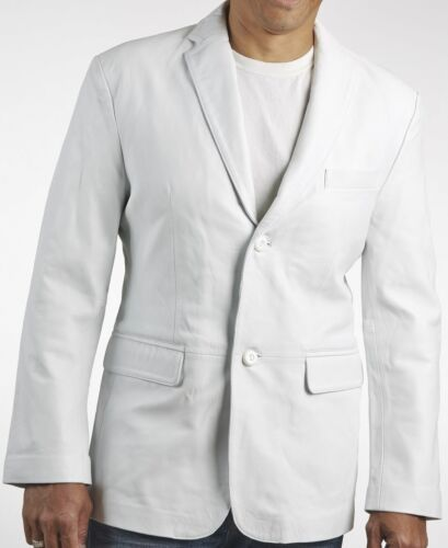 Premium White Classic Two Button Style Soft Lambskin Leather Blazer For Men KB33