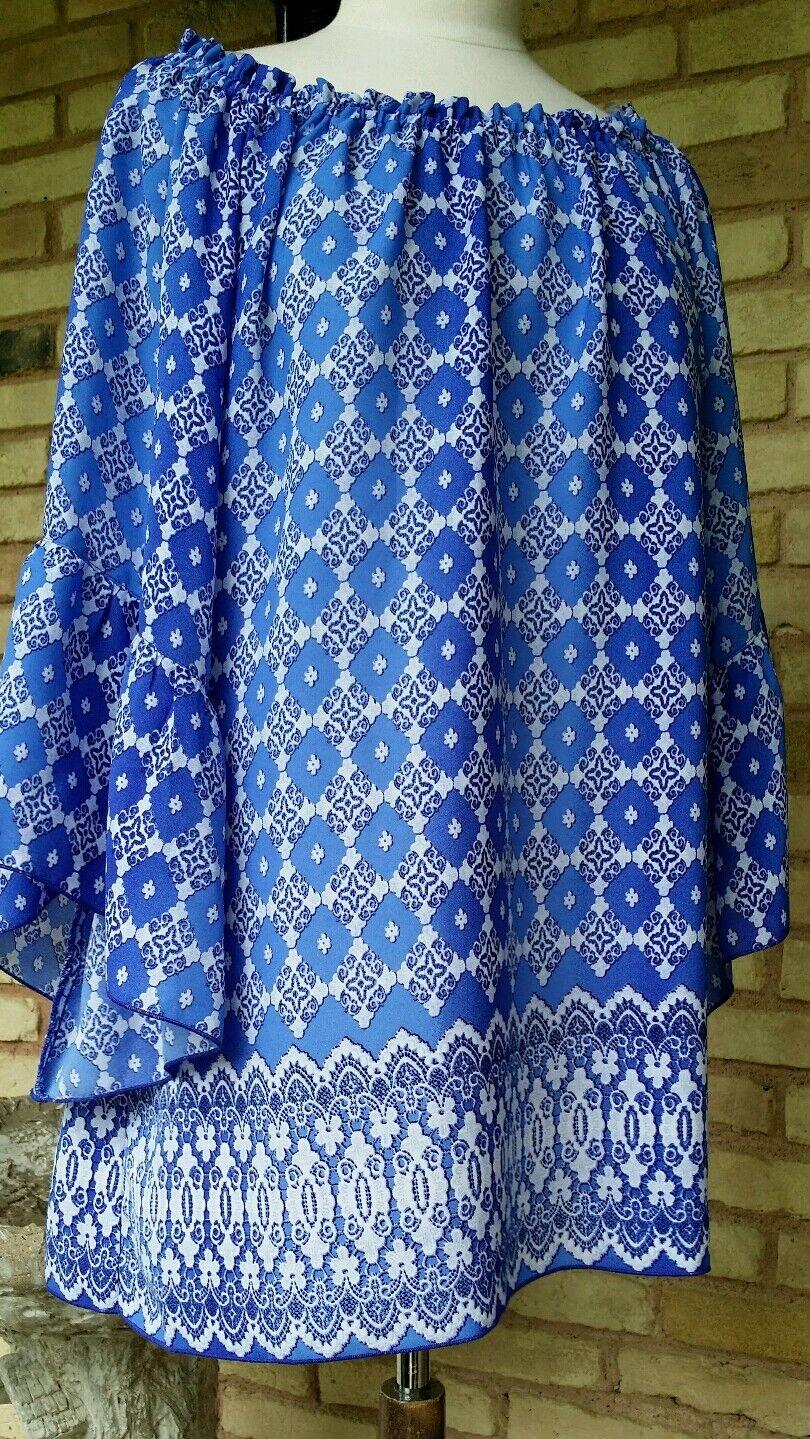 Ivy Jane xsmall  casual bluee print  3 4 ruffle sleeve, tunic top