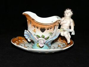 VTG-Noritake-Giftcraft-Cherub-Gravy-Boat-Sauce-With-Underplate-Bisque-Porcelain