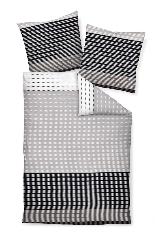 Janine Bettwäsche Set J.D. 87020-08 platin schwarz Linien Streifen Mako Satin | Viele Stile