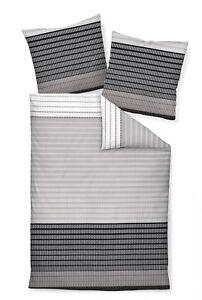 Janine Bettwäsche Set J.D. 87020-08 platin schwarz Linien Streifen Mako Satin