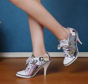 Stiletto puntige hak lederen Casual Euro sneakers Lace Hoge teen schoenen Womens Up qzVMULGSp
