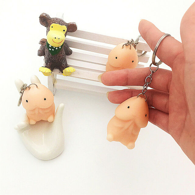 Novelty Rubber Release Pressure pig Toy Keychain Anti-stress kid Toy Nude