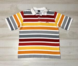 NIKE AIR JORDAN Vintage Men's Polo Shirt Striped Size XXL Red Gray Yellow