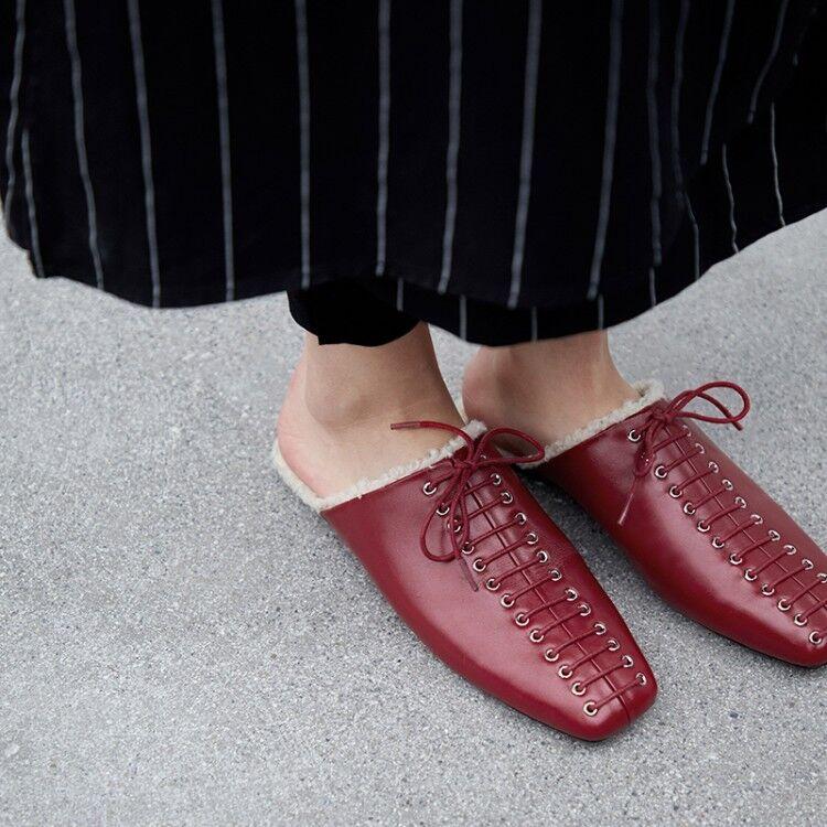 Mujeres Mujeres Mujeres Plana Tacón Bajo Zapatillas Con Cordones Atar Slip On Mulas Sandalias Zapatos Bombas Sz2-6 10ce03