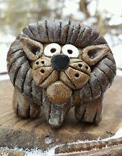 VTG Custom Lion Hand Sculpted Figurine Figure Clay Pottery African Animal Art