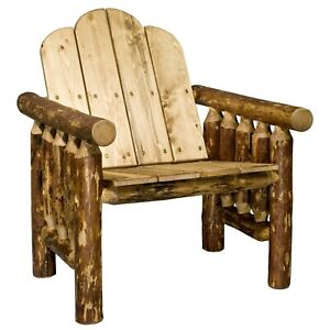 Details About Outdoor Log Chairs Rustic Patio Chair Amish Made Lodge Cabin Deck Furniture