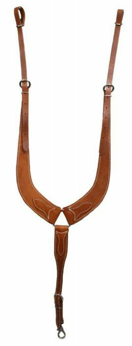 WESTERN SADDLE HORSE HEAVY LEATHER BREAST PLATE PULLING COLLAR  ROPING REINING  low-key luxury connotation