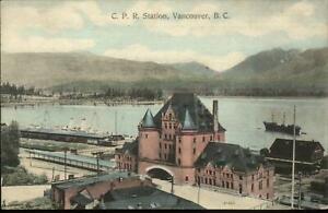 Vancouver-NC-CPR-Station-c1910-Postcard-Nice-Color