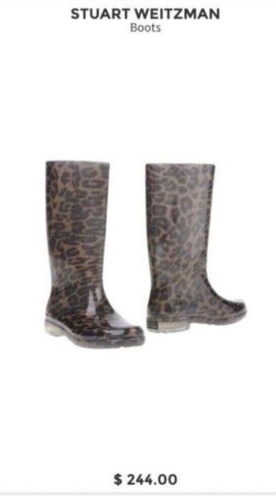 Stuart Weitzman leopard print wellington boots size 7-8 vgc vgc vgc was 3 4 shaft f5514b