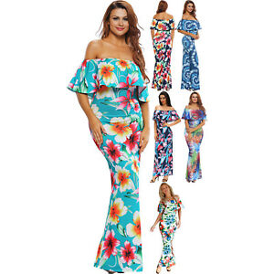 5f0760395c065 Print Off-the-shoulder Maxi Dress Stage Dance Wear Women Brief Cute ...