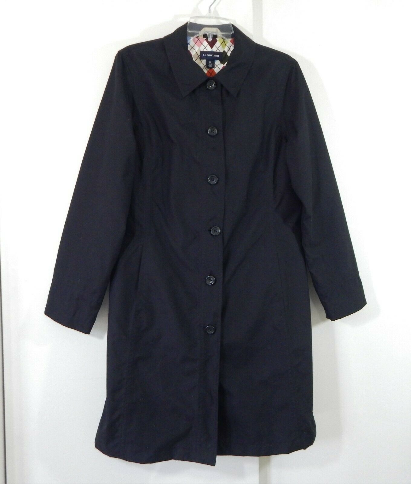 LANDS END coat trench outerwear mid length casual preppy classic black 10 12 M