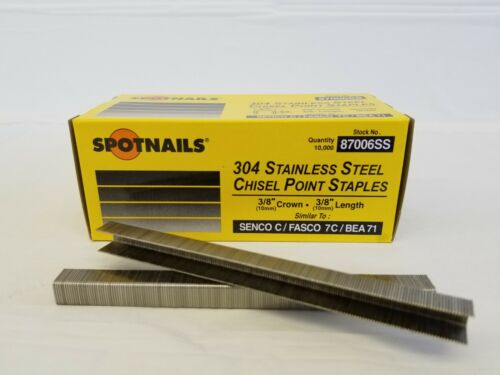 """STAINLESS STEEL  STAPLES 3//8/"""" CROWN BY 3//8/"""" STAINLESS STEEL C06 10,000//Box"""