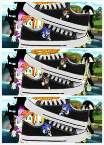 Anime Sonic the Hedgehog Cosplay Canvas Unisex Black/&White Sneakers Casual Shoes