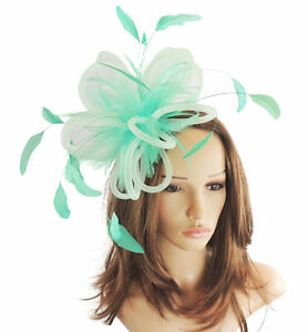 Mint Green Fascinator Hat for Weddings Ascot Proms With Headband F5 ... de419eb0094