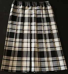 NEW LADIES CHECK PATTERN BOX PLEAT FULL ELASTICATED LINED SKIRT *4 COLOURS*