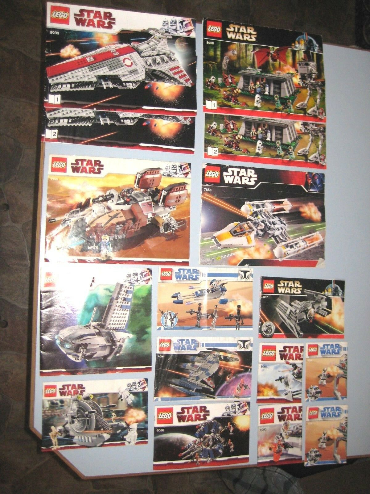 Lot of Lego Instructions Booklets  Star Wars 8038,8039,7153,7658,8036,7748,8016+
