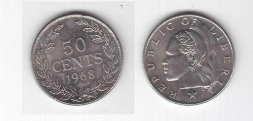 RARE 50 CENT UNC COIN 1968 YEAR KM#17a. LIBERIA
