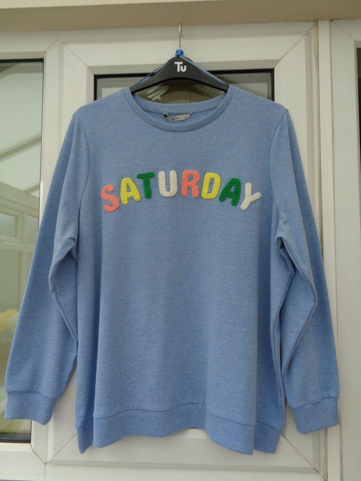 Ladies Tu Blue Boucle Saturday Sweatshirt Size 22 BNWT