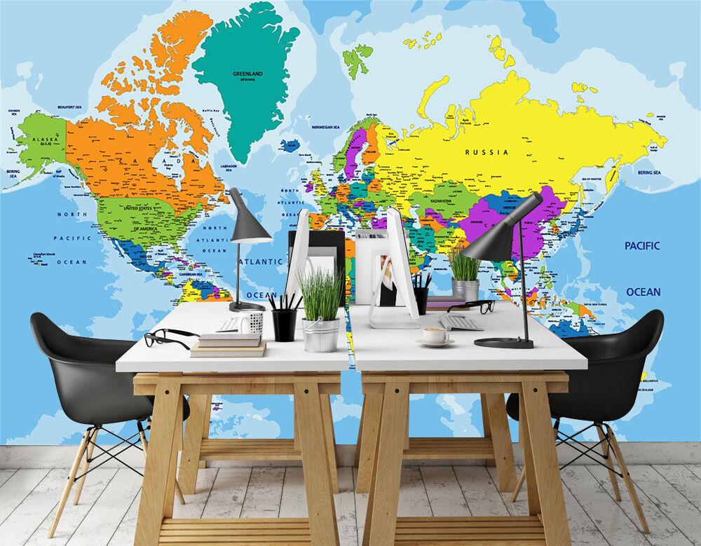 3D Farbeful World Map 1746 WandPapier Decal Dercor Home Kids Nursery Mural Home