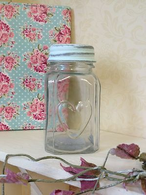 SECONDS Glass Jar With Heart & Lid Sweet Pot Vintage Wedding Table Decoration