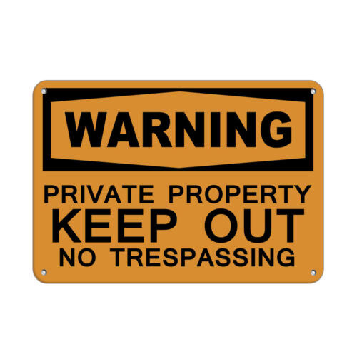 Horizontal Metal Sign Multiple Sizes Warning Private Property Keep Trespassing