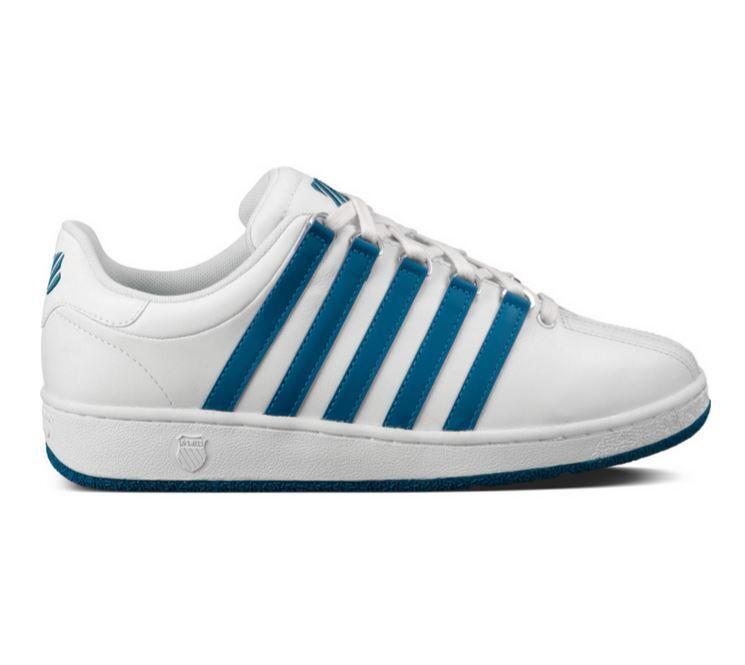 K-SWISS CLASSIC VN White Blue Leather 03343-176-M uomo Sneakers Sz8-13 L Scarpe classiche da uomo