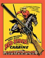 Vintage Replica Tin Metal Sign Red Ryder Daisy Air Riffle Gun Shot Cowboy 953