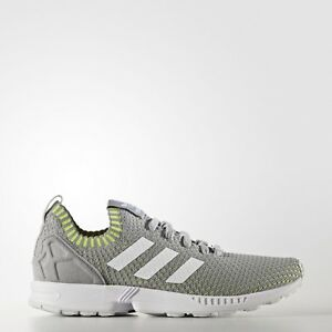 Image is loading adidas-Originals-Zx-Flux-PK-Primeknit-Grey-Yellow-
