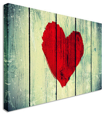 Wooden Red Love Heart - Canvas Wall Art Pictures For Home Interiors
