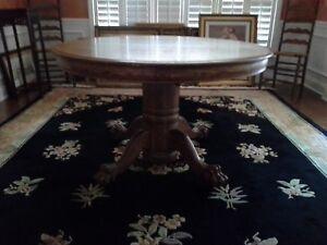 Details About Antique Tiger Oak 47 Round Pedestal Dining Table