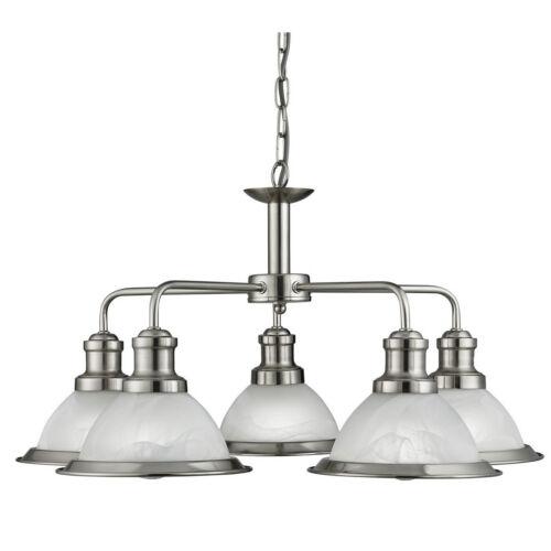 Bistro satin argent 5 lumière pendentif lustre plafonnier acide globes en verre