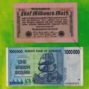 Details About 5 Million German Marks 1923 Banknote 1 Zimbabwe Dollars 2008 Currency