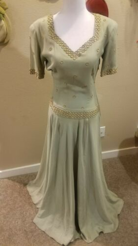 Vintage 1940s Studded Crepe Gown