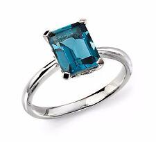 9CT White Gold London Blue Topaz Ring New Hallmarked & GIftbox