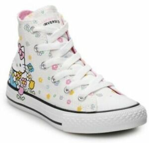 Hello Kitty Shoes Converse 664634F Junior Girls Hello Kitty Hi-Top Sneakers Shoes Girl Size 4  NEW 888756705185 | eBay