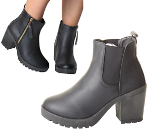 Woman-039-s-Chunky-UK-Grip-Sole-Block-High-Heel-Black-Ankle-Zips-Chelsea-Shoes-Boots