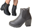 Woman-039-s-Chunky-UK-Grip-Sole-Block-High-Heel-Black-Ankle-Zips-Chelsea-Shoes-Boots thumbnail 1