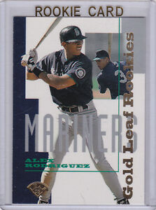 Details About Alex Arod Rodriguez Rc Gold Leaf Baseball Rookie Card Insert Mariners Yankees