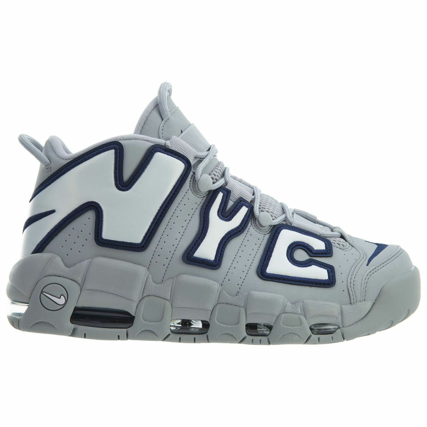 Nike Air More Uptempo NYC QS Mens AJ3137-001 Wolf Grey Navy Shoes Size 11.5